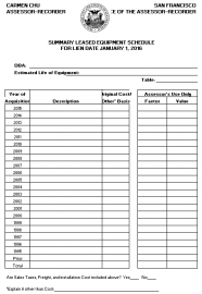 Summary Leased Equipment Schedule