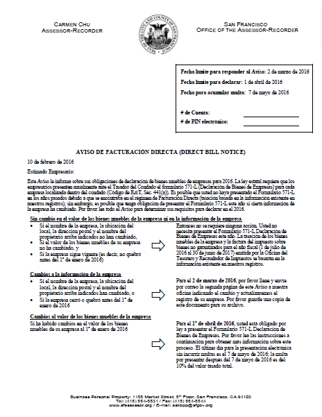 Direct Bill Notice (Spanish - Aviso de facturación directa)