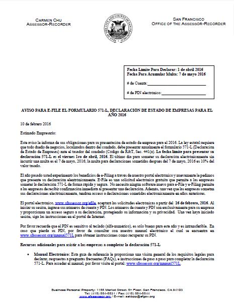 Notice to E-File (Spanish - Aviso para e-file el formulario 571-l, declaración de estado de empresas)
