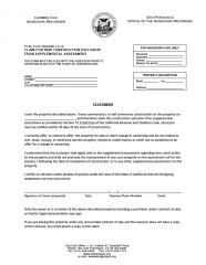 Claim for New Construction Exclusion from Supplemental Assessment