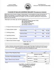 Possessory Interest Mailing Address Change Form